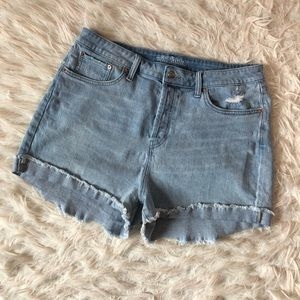 High rise button fly jean shorts
